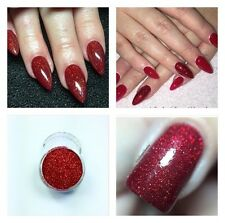 Red Holo Acrylic Powder Pre Mix Glitter Nail Art Extension Designs Builder UK