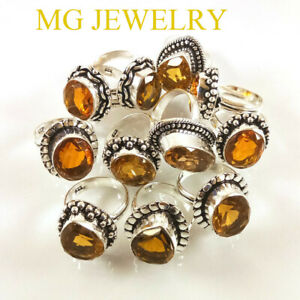 20 PCs Lot Natural Citrine Gemstone .925 Sterling Silver Overlay Rings