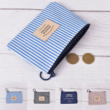 Stripe Canva Zero Wallet Kids Clutch Zipper Women Pocket Pouch Key Coin Bag  M