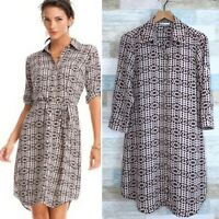 CAbi Colonial Club Shirt Dress Blue Pink Black Geo Print 784 Womens Medium
