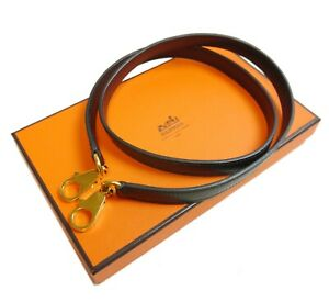 Authentic HERMES Shoulder strap Kelly  Leather #3971