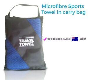 Microfibre Blue Towel Bath Sports Gym Camping Beach Travel 40*70cm Carry Bag
