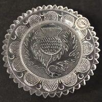 Scottish Thistle Flower Vintage Pairpoint Glass Cup Plate Scotland Kitchen Decor