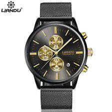 Liandu Men's Chronograph Black Gold Stainless Steel Calendar Watch USA SELLER W4