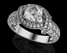 Real 14K White gold 2.45ct Diamond Round Brilliant Anniversary Engagement Ring