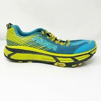 Hoka One One Mens Evo Mafate 2 1105591 CCTRS Blue Yellow Running Shoes Size 10.5