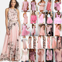 Rosa Kleider Damen Minikleid Lang Boho Sommer Kleid Strand Party Abend Cocktail