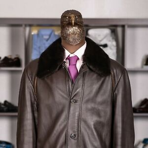 Great $7650 BRIONI Fur Collar Removable Liking Leather Jacket  Brown 44US/54IT