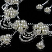Women Wedding Bridal Rhinestone Crystal Pearl Necklace Jewelry Set Earrings