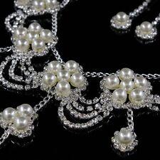 Women Wedding Bridal Rhinestone Crystal Pearl Necklace Jewelry Set Earrings
