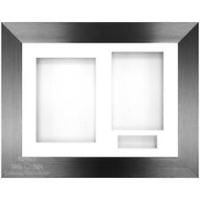 "12x9"" Brushed Pewter 3D Shadow Deep Box Display Frame / White"