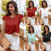 Women Summer Casual Lace Loose Button Short Sleeve Tunic Tops Blouse T-Shirts