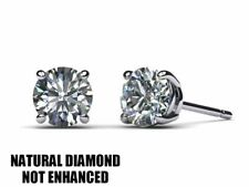 1 CARAT NATURAL DIAMOND SOLITAIRE STUD EARRINGS D VS2 STUD ROUND 14K WHITE GOLD