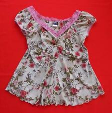 STYLES ~ Tan Beige Pink Floral Short Sleeve Top Blouse ~ Juniors Size LARGE L