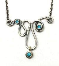 VHTF Retired Rare Pandora 925 14K Blue Topaz Infinity Necklace 59110TPP45