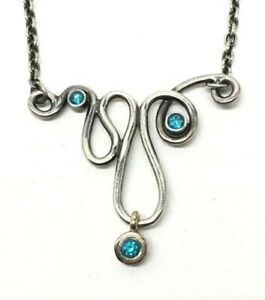 VHTF Retired Rare Pandora 925 14K Blue Topaz Infinity Necklace 59110TPP45