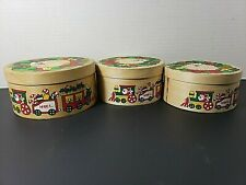 Lot of 3 Vintage Wooden Gift Box With Santa & Noel Train Design Christmas