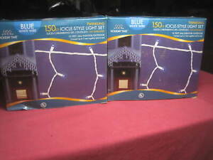 (2) HOLIDAY TIME 150 Count Blue Bulbs 13 FT. Twinkling Icicle-Style Light Set