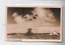 Carte postale Allemagne. U-boote U9 avec escadrille d'hydravions . 1940