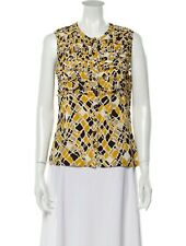 Tory Burch: Animal Print Silk Ruffled Sleeveless Blouse - Size: 6