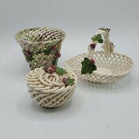 3 Piece Vintage Porcelain Woven Basket Vase Covered Trinket Dish Grapes Vine