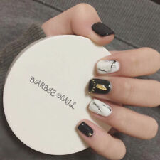 24Pcs Sweety Solid Black White Decorated Short Square Full Cover False Nail Tips