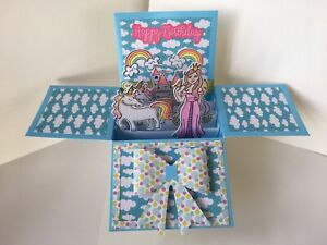 Handmade And Painted Birthday Pop Up Box Card. Blank Inside.Princess. Folds Flat
