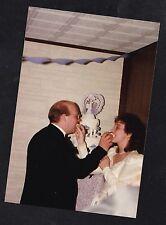 Vintage Photograph Wedding Pretty Bride & Groom Feeding Each Other Wedding Cake