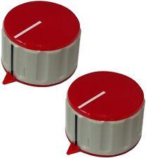 2 boutons de potentiomètre pour axe lisse 6mm Ø36.7x21.8mm gris/rouge en ABS