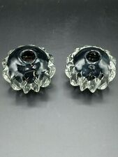 Pair Taper Candlestick Holders Glass Black and Clear