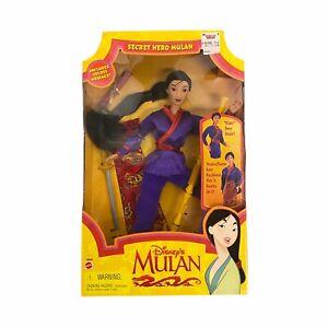 "Vintage Mattel 1997 Disney Secret Hero Mulan Doll W/ Accessories 11"" NEW RARE"