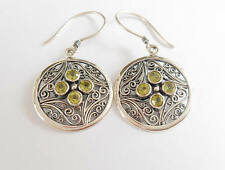 Circles 925 Sterling Silver Hook Dangle Genuine Green Peridot Earrings 2350e