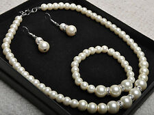 Ivory Synthetic Pearl Crystal Necklace Bracelet Earrings Jewellery Wedding Set