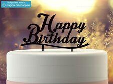 """Happy Birthday"" - Black - Birthday Cake Topper  - Made by OriginalCakeToppers"