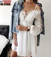 US Women Lace Cold Shoulder Mini Dress Ladies Long Sleeve Lace Up Party Sundress