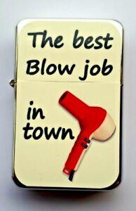 BLOW JOB  Hair dressers Funny  Petrol Lighter in  black velvet pouch.