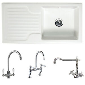 Astini Rustique 100 1.0 Bowl White Ceramic Kitchen Sink & Chrome Waste