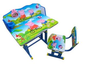 Cartoon Desk Stool Set Kids Children Home Study PEPPA PIG Table Chair Storage