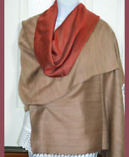 Hand Woven Double Sided Silk Shawl in Red and Beige Color from India!