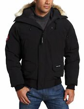 Canada Goose Chilliwack Hooded Down Black Bomber Jacket Coyote Fur Size Small