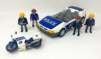 Incomplete Playmobil Police Motorcycle & Car With Policeman Policewoman Figures