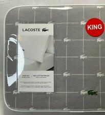 NEW Lacoste 100% Cotton Slice Croc Printed Logo 4pc KING Sheet Set - Sleet