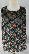 Anthropologie Meadow Rue Womens Top Sleeveless Black Gray Orange Metallic Rayon