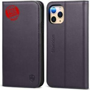 iPhone 11 Pro Max Wallet Case Genuine Leather RFID Blocking Flip Magnetic Cover