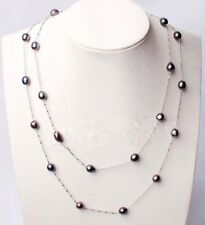 Fashion Natural 7-8mm Black Rice Akoya Freshwater Pearl Chain Long Necklace 46""