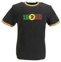 Trojan Records Mens Black/Gold/Green Logo 1969 100% Cotton Peach T-Shirt