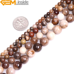 Natural Stone Brown American Silicified Wood Opalite Round Loose Beads Jewelry