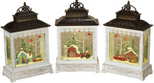 Musial Christmas Winter Scene Spinning Water Snow Globe Lanterns Set With Timer