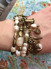 Moon'C Paris Beautiful Real Pearl And Brass Multi Boho Bracelet