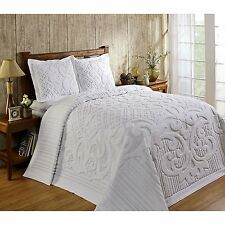 ASHTON HEAVYWEIGHT CHENILLE BEDSPREAD AND PILLOW SHAM COMPLETE SET, ALL COTTON